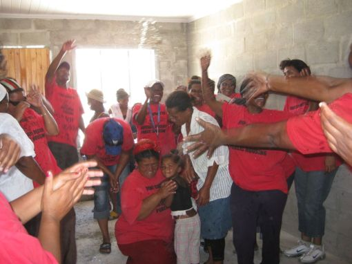(15) A 'water fight' christens then new home